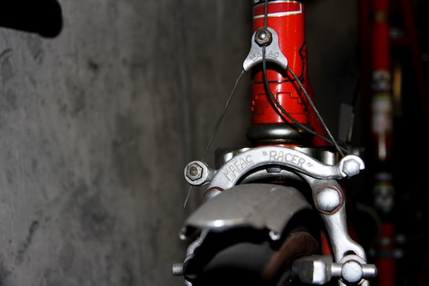 Front view of a cantilever bike brake