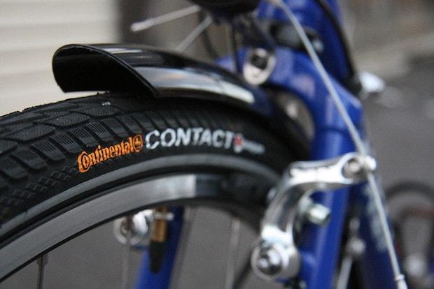Closeup of a hybrid bike tire