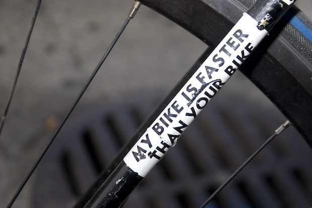 Sticker on a bike frame that says My Bike is Faster Than Your Bike