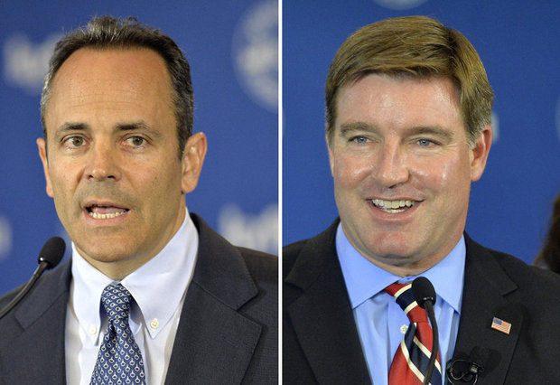 Matt Bevin (R) on left; Jack Conway (D) on right