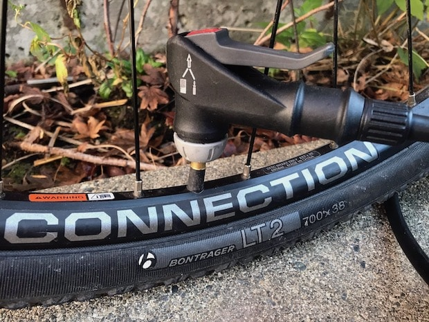 bicycle pump connected to valve