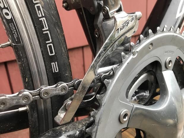 Front derailleur on a bike