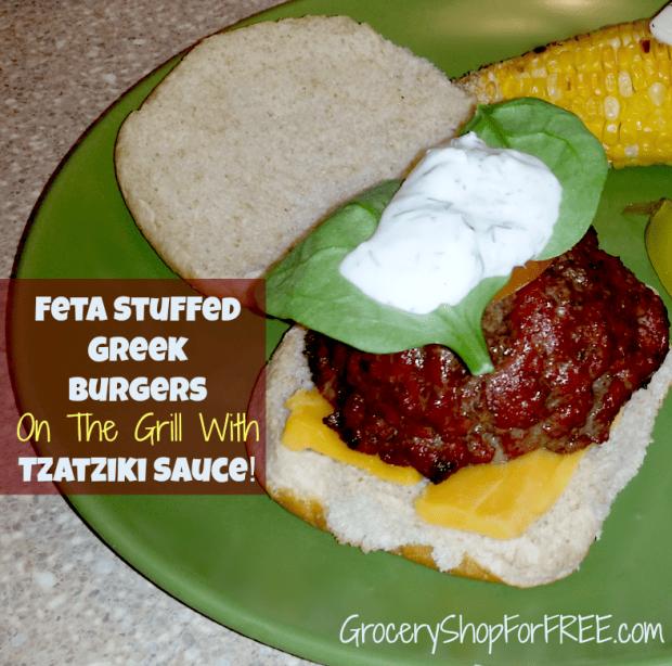 Feta Stuffed Greek Burgers On The Grill With Tzatzike Sauce!