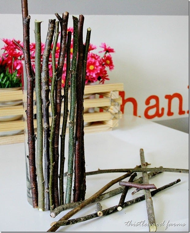 Wood stick vase DIY