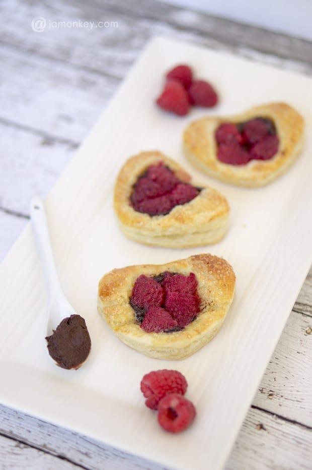 Puff Hazelnut Chocolate Raspberry Pastries