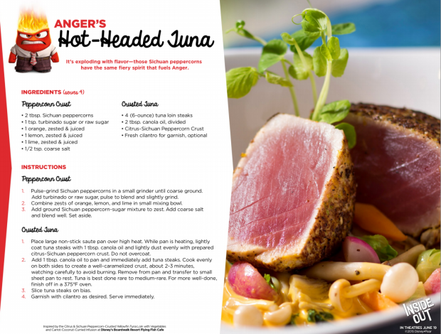 Disney Pixar Inside Out Recipes Angers Hot-Headed Tuna