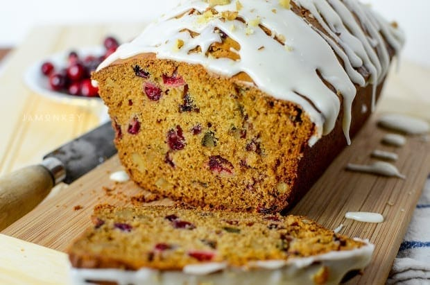 Cranberry Loaf with Eggnog Icing