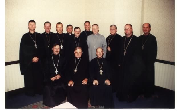 Gathering of chaplains under the leadership of Fr. Gregory Pelesh, Dean of Chaplains, in 1999.