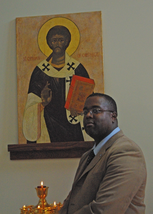 Me with St. Cyprian of Carthage (© John Gresham)