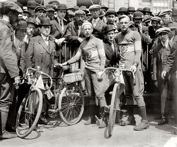 "May 3, 1913. ""Fred J. Scherer and Walter Wiley at the start of New York to San Francisco bicycle race."""
