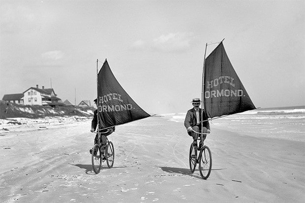 "Volusia County, Florida, circa 1903 ""Bicycles with sails"""