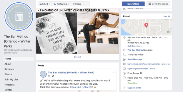 about facebook business section