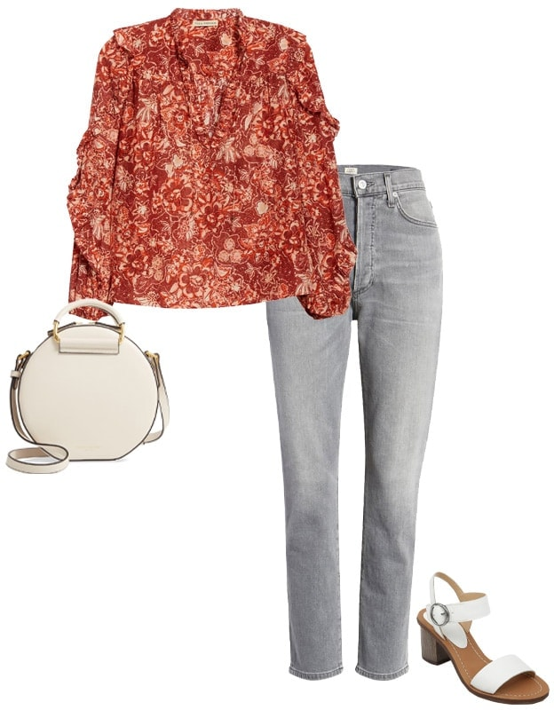 Outfit combining gray with coral | 40plusstyle.com