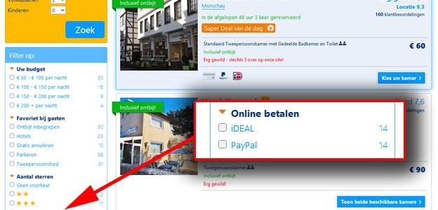 Hotels betalen met ideal op booking.com