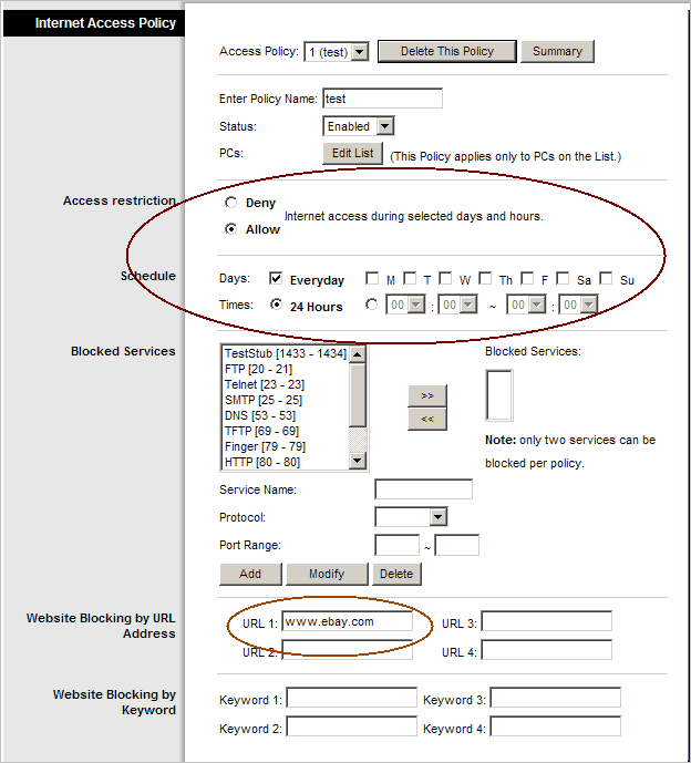 Block website with router's settings