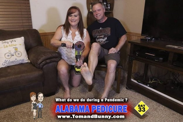 Day 33 - What do we do during a Pandemic? - Alabama Pedicure! with all the hair and nail salons closed, we gotta do what we gonna do! to see all the series of photos check out this page on our website. https://bit.ly/TnBpandemic