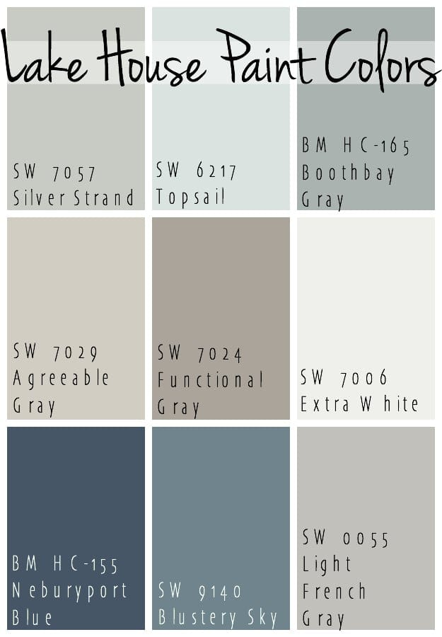 Lake House Paint colors blues and grays