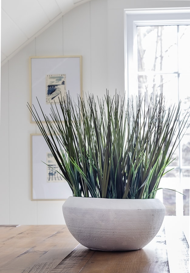 bowl of grass centerpiece dining table