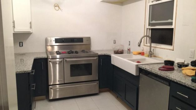 Reese's kitchen with a stainless steel oven.