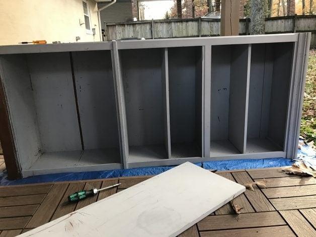 Thomasville bookshelf in gray chalk paint