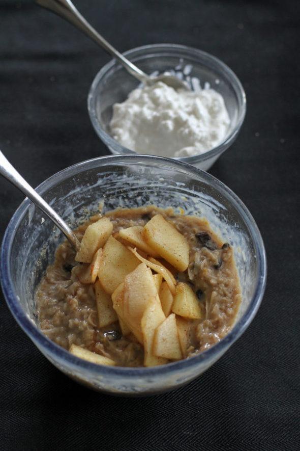 oatmeal with sautéed apples.