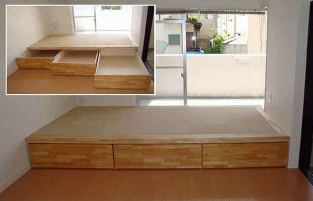 Storage hidden under raised floor