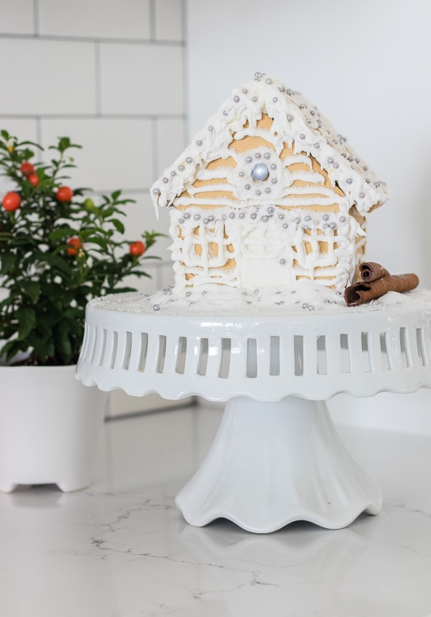 white gingerbread house