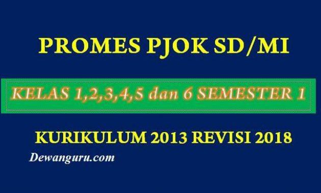 Promes PJOK SD/MI Kelas 1,2,3,4,5 dan 6 kurikulum 2013