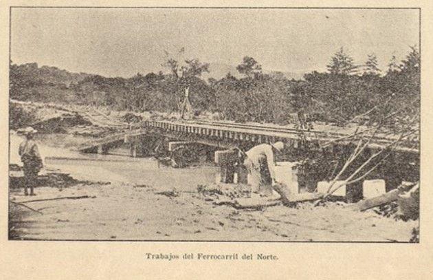 Obras de construcción del Ferrocarril del Norte 1906