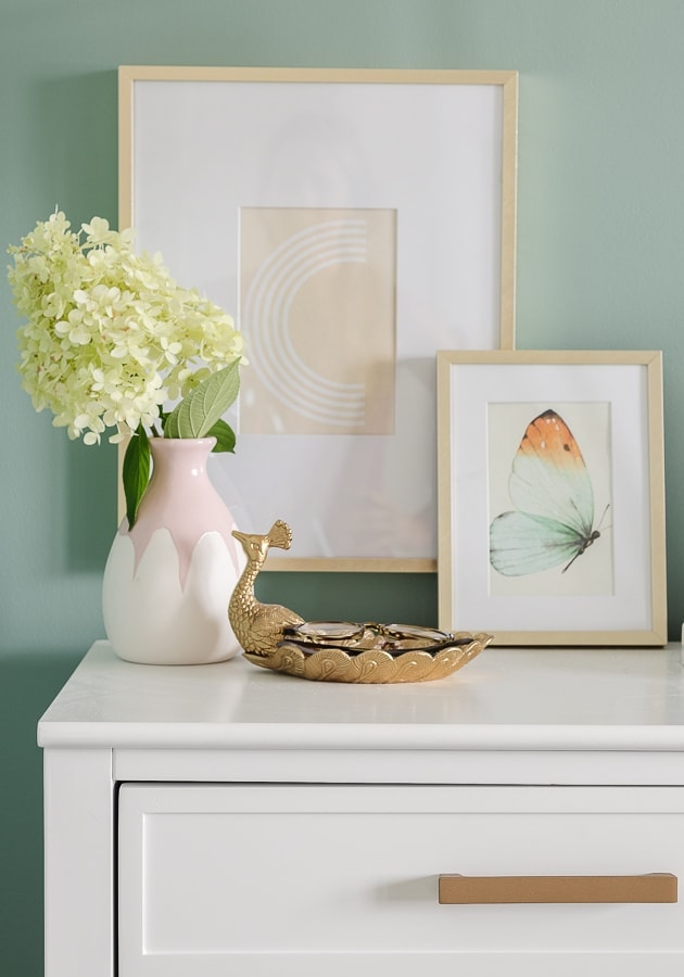 white nightstand, brass accents, nightstand styling