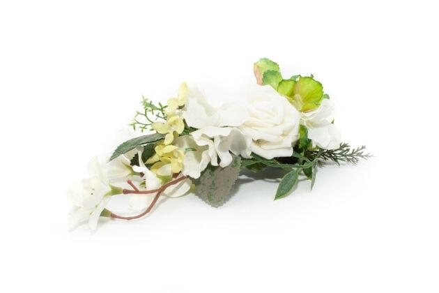 Grzebyk w stylu greenery z różą ptaszarnia