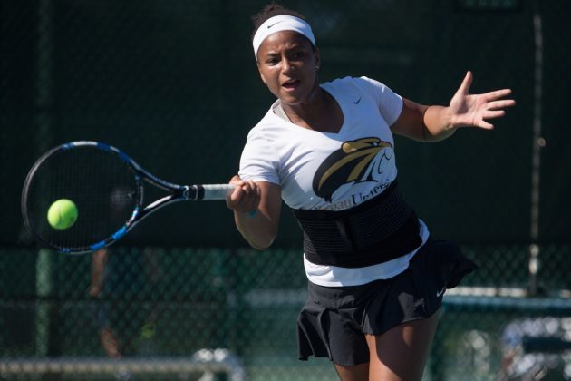 Brenau's Fatyha Berjane, the Southern States Athletic Conference Women's Tennis Player of the Year, earned All-American honors at the National Association of Intercollegiate Athletics 2016 Women's tournament. (AJ Reynolds/Brenau University)