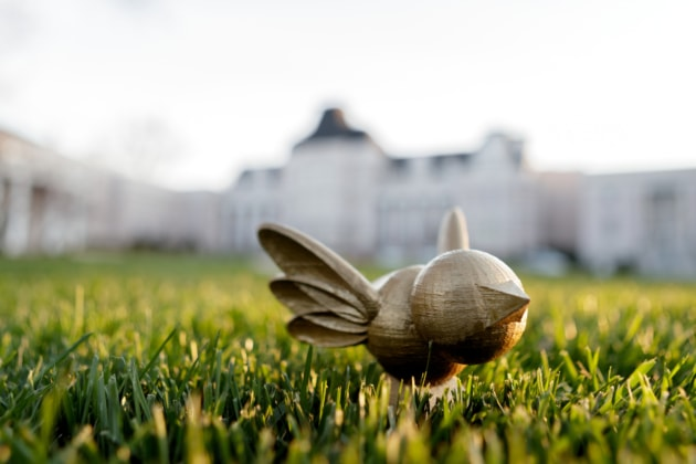 BURD statuette in grass in front of Pearce Auditorium