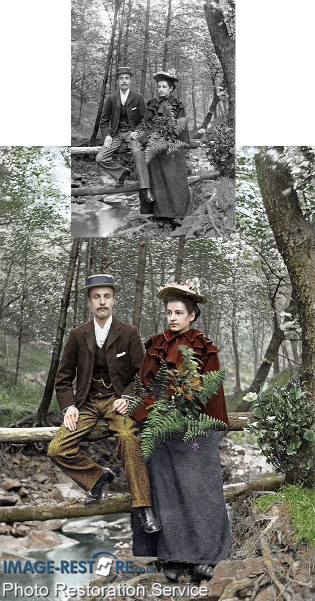 Coloured photo of a couple in the woods