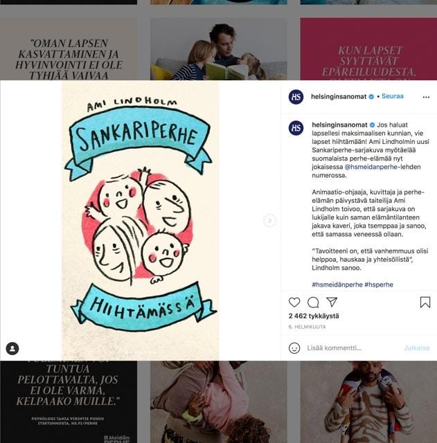 Sankariperhe -sarjakuva mainittu Helsingin Sanomat Instagram tilillä 2020