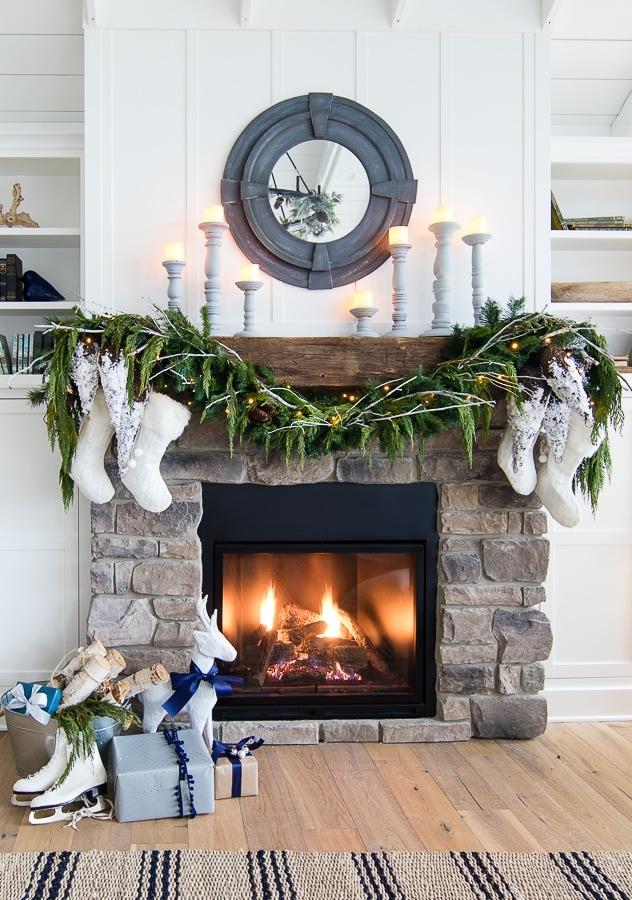 white christmas mantel