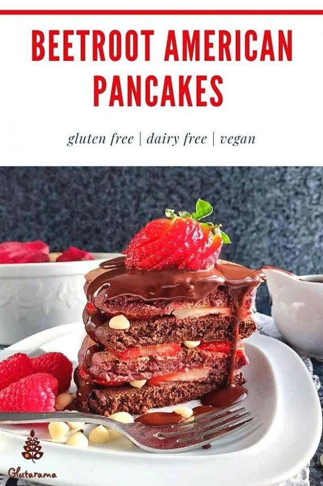 Beetroot American Pancakes - gluten free and vegan by Glutarama