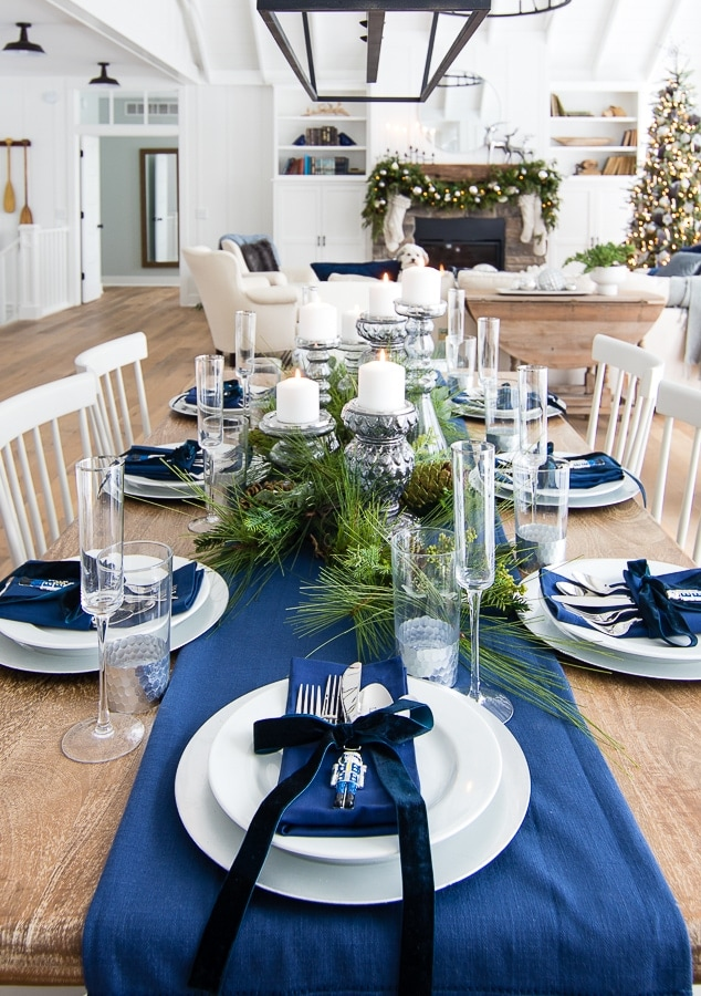 Silver and navy tablescape for christmas dinner