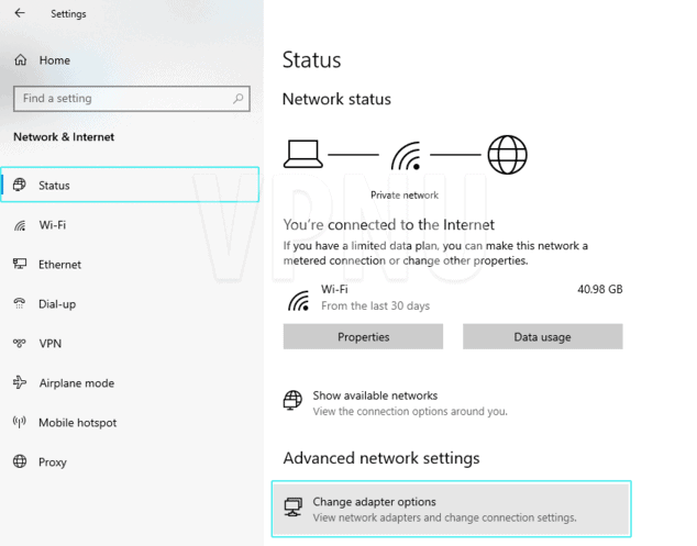 Change network adapter settings (in Windows 10)