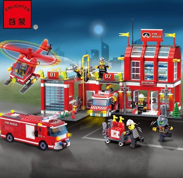 AliExpress Lego Replica Lego Alternative Lego City Clone AliExpress A+ Building Blocks Fire Station 3