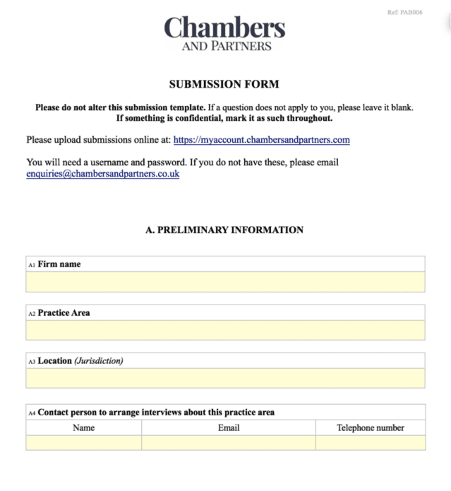 Chambers Submission Form