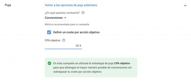 estrategia de CPA objetivo en google ads