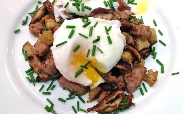 Wild Mushroom and Sausage Hash with Poached Eggs