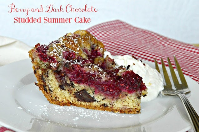 This berry studded dark chocolate cake is perfect any time you can get fresh berries. Not too sweet, this is perfect with a cup of tea or even as breakfast! #cake #coffeecake #brunch #berries www.thisishowicook.com