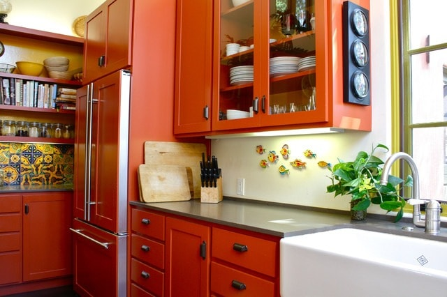 кухни в оранжевом цвете сочетания