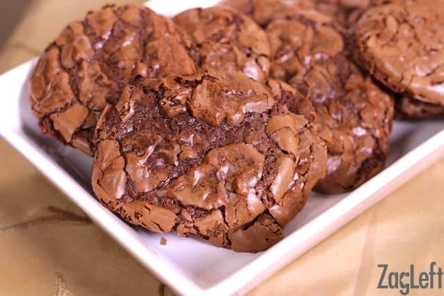 Closeup of Fudgy Brownie Drop Cookies on a rectangle plate