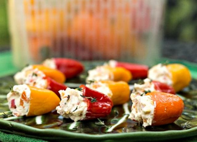 Tangy Pickled Peppers Stuffed with Herbed Goat Cheese