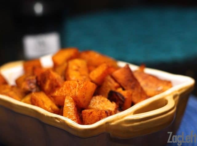 Chopped Roasted Sweet Potatoes and Butternut Squash in a baking dish
