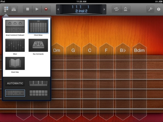 Various layouts give you different instrumental controls and mixing and interactive help.