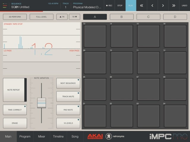 It's really the pad controls where iMPC is most powerful - and where it's most indebted to MPC hardware. On the bottom left, you get MPC-style pad options that help you add details to performances and patterns - even if you don't have velocity-sensitive pads connected. On the top left, you can add live effects using multi-touch gestures.
